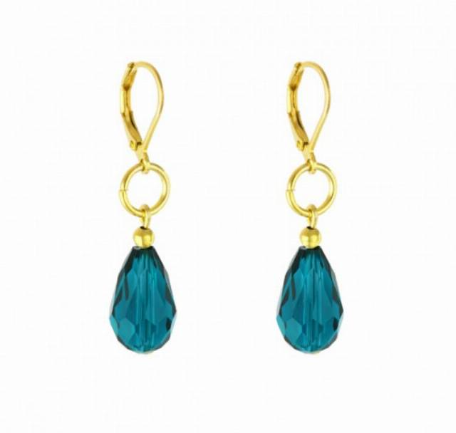 Indicolite earrings in gold.