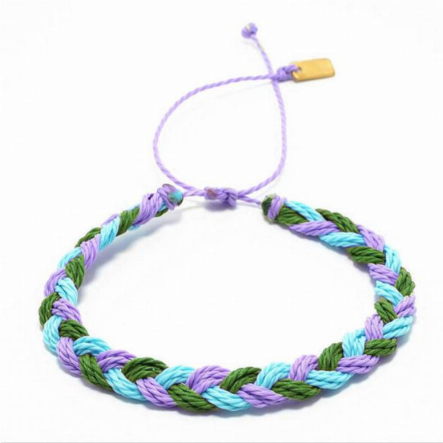 Big braid -green, light purple, light blue