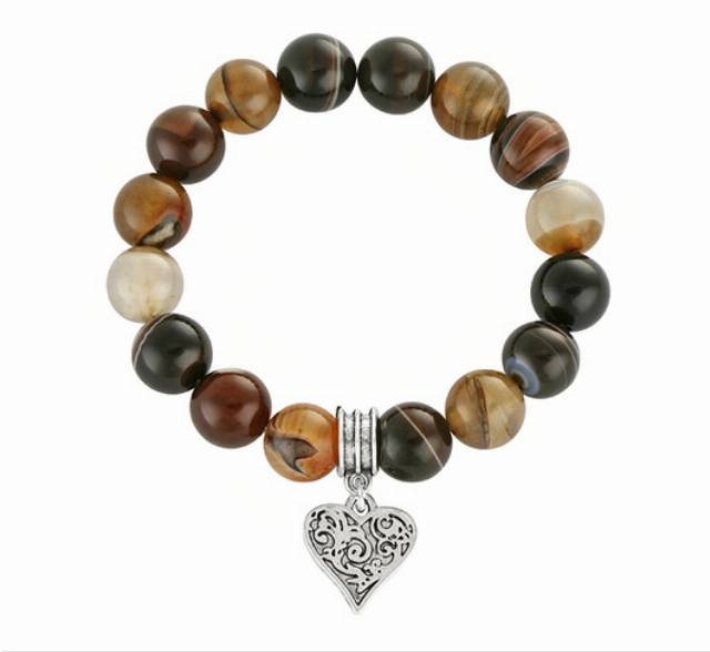 Brown agate with heart pendant.