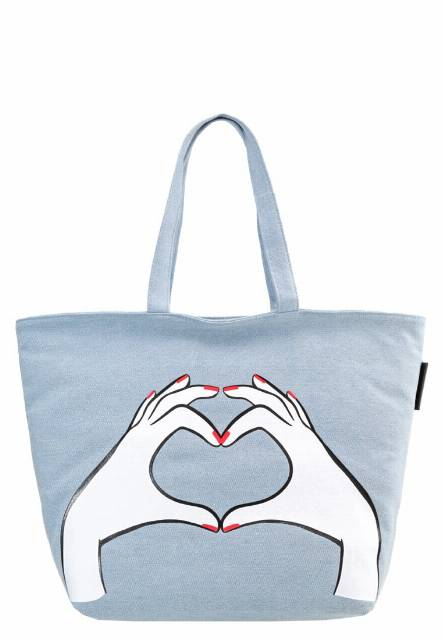 Lulu Guinness LUISA HEART HANDS Torba na zakupy denim