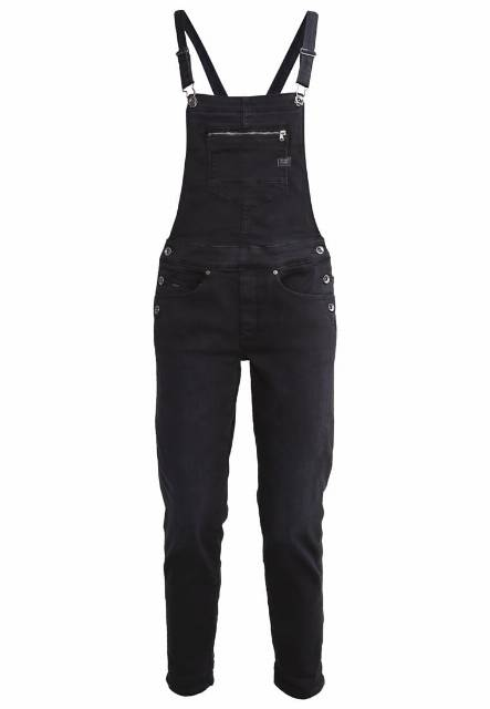 GStar MIDGE SLIM OVERALL  Ogrodniczki slander black superstretch