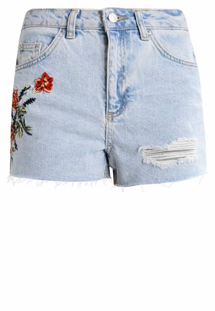 Topshop Petite FIRE FLOWER  Szorty jeansowe lightdenim