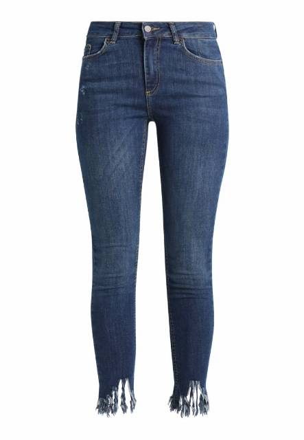 Pieces Jeansy Slim fit dark blue denim