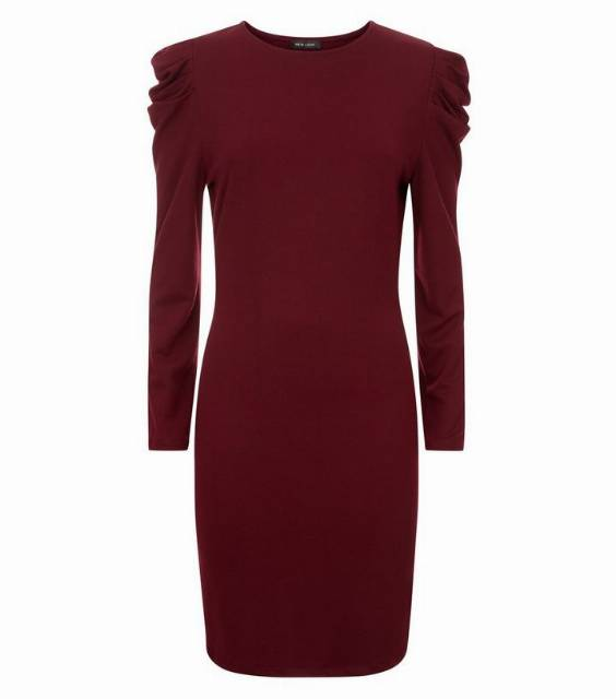 Burgundy Ruched Shoulder Tunic Dress