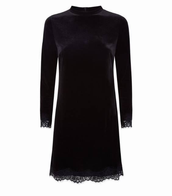 Black Velvet Lace Trim Tunic Dress