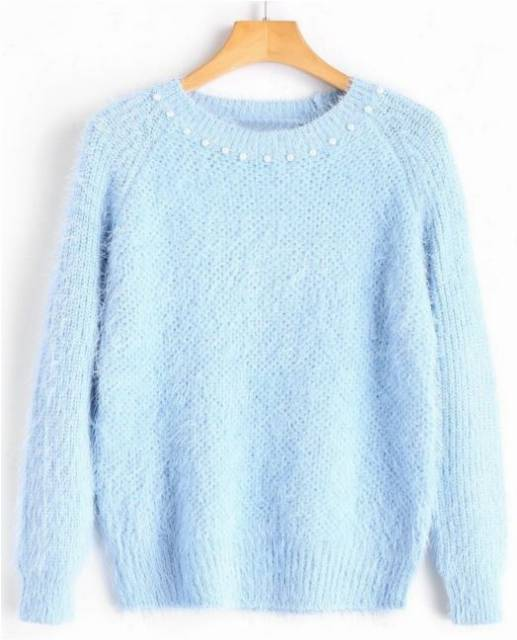 Textured Faux Pearls Pulower Sweter - Light Blue