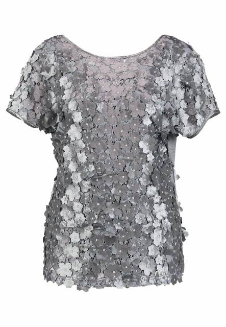 Cream SAMANTHA TOP Tshirt z nadrukiem charcoal gray