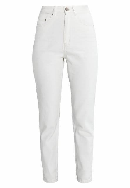 Lost Ink MOM WITH ALL OVER Jeansy Slim fit off white