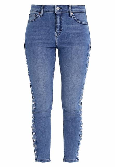 Topshop Petite LACE UP JAMIE Jeansy Slim fit middenim