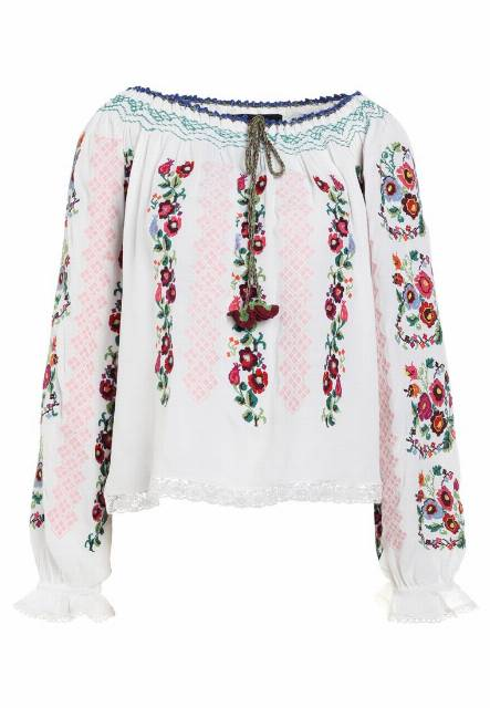 Needle & Thread CROSS STITCH FLOWER TOP Bluzka white