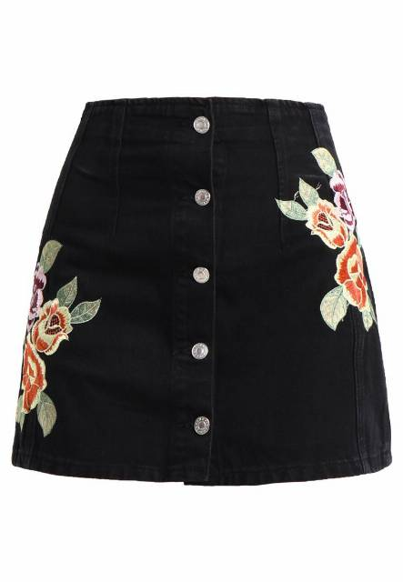 Topshop FLORAL BUTTON THROUGH SKIRT Spódnica trapezowa black