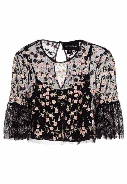 Needle & Thread CLIMBING BLOSSOM TOP Bluzka black