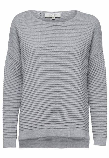 Selected Femme SFLAUA  Sweter light grey melange