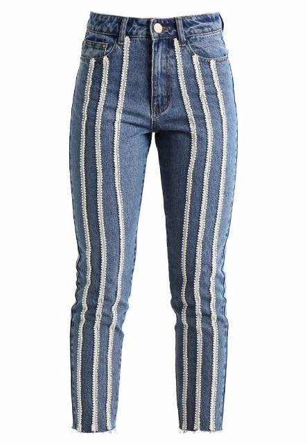 Lost Ink SLIM MOM ANKLE GRAZER WITH PEARL STRIPE Jeansy Slim fit light blue denim