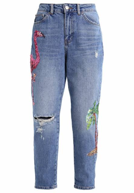 Topshop Petite FLMINGO MOM Jeansy Relaxed fit lightdenim
