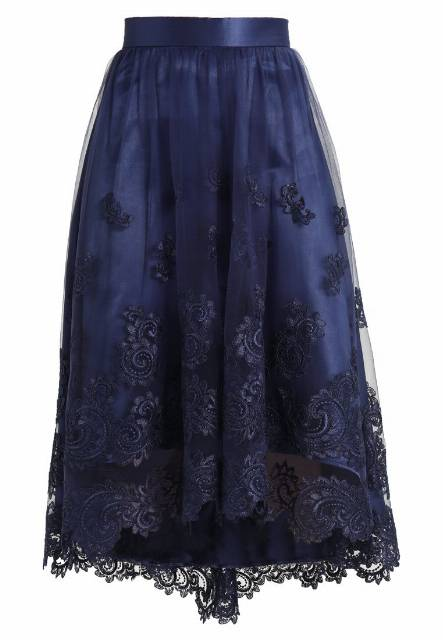 Chi Chi London TIESA SKIRT Spódnica trapezowa navy
