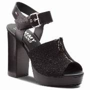 Sandały TOMMY HILFIGER - JEANS Denim Zipper Sandal High Heel EN0EN00117  Black 990