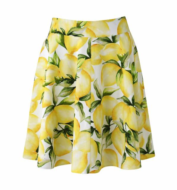 new-look-lemon-yellow-fruit-print-skirt