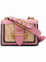 PRADA Cahier straw shoulder bag