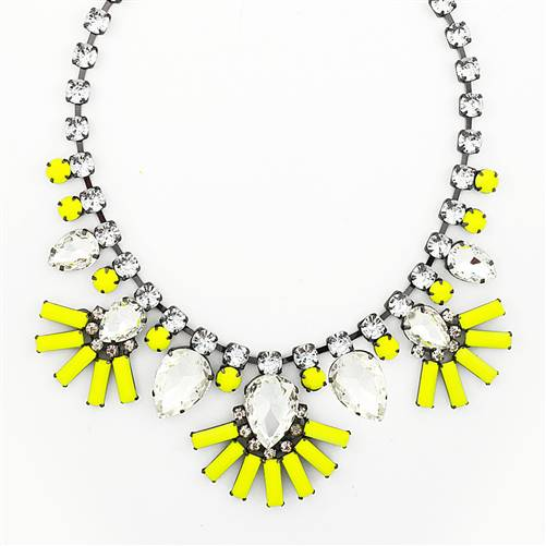 FANNED PETAL NECKLACE - NEON YELLOW CRYSTAL STATEMENT NECKLACE
