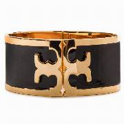 Bransoletka TORY BURCH - Enamel Raised Logo Wide Cuff 37775 Black/Tory Gold 010
