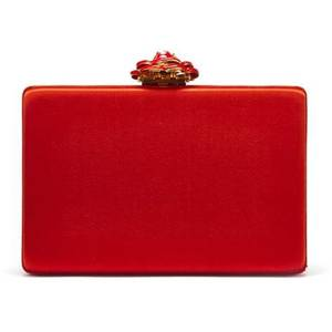 Red Satin Rogan Box Clutch