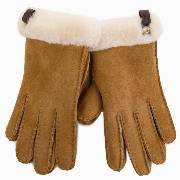 Rękawiczki Damskie UGG - W Shorty Glove W/Leather Trim 17367 Chestnut M
