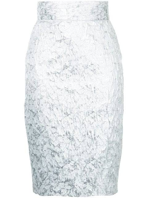 Silver toned cotton blend brocade pencil skirt from Bambah
