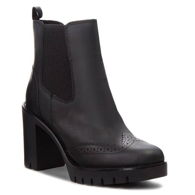Botki TOMMY HILFIGER - Casual Heeled Chelse FW0FW03058 Black 990