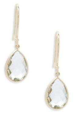 Mint Green Quartz and 14K Yellow Gold Pear Shaped Drop Earrings