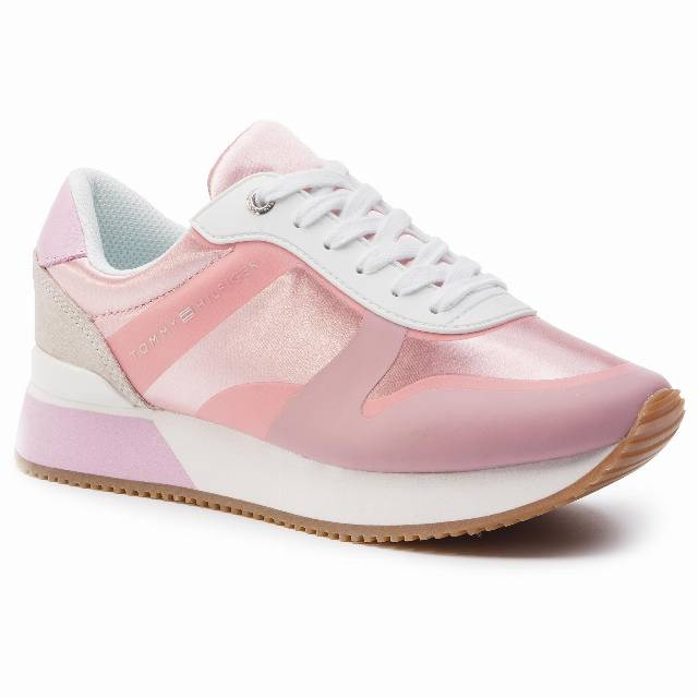Sneakersy TOMMY HILFIGER - Pop Color Satin City Sneaker FW0FW04099 Pink Lavender 518