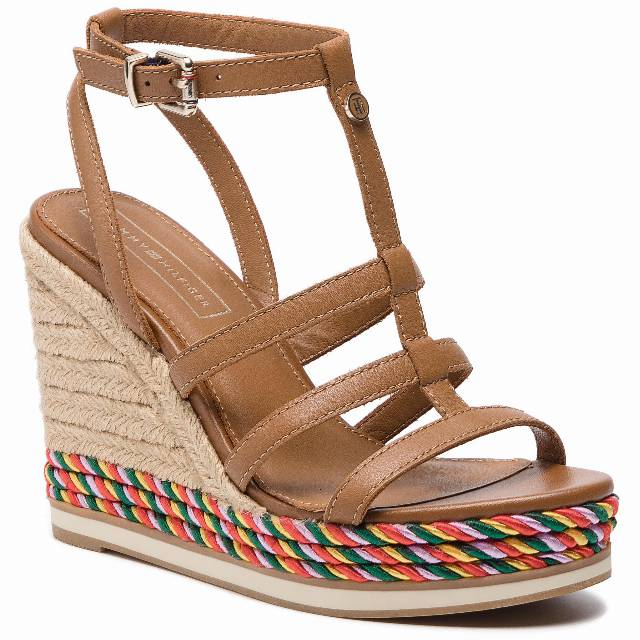 Espadryle TOMMY HILFIGER - Colorful Rope Wedge Sandal FW0FW03821  Summer Cognac 929