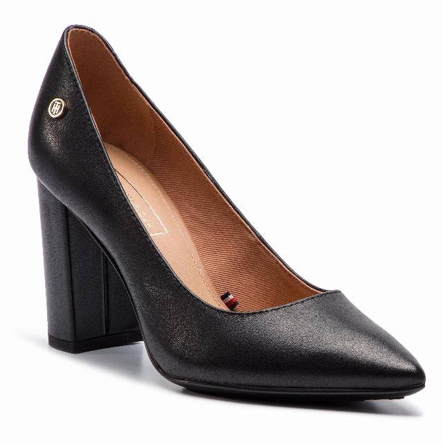 Półbuty TOMMY HILFIGER - Dressy Leather High Heeled Pump FW0FW04047  Black 990