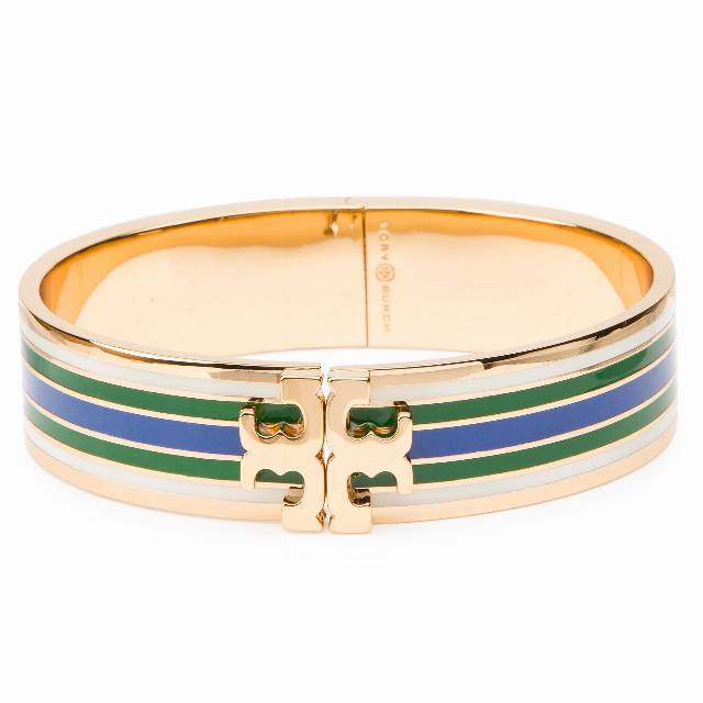 Bransoletka TORY BURCH - Printed Raised-Logo Hinged Bracelet 46809 Tory Gold/Green/Blue/Ivory 345