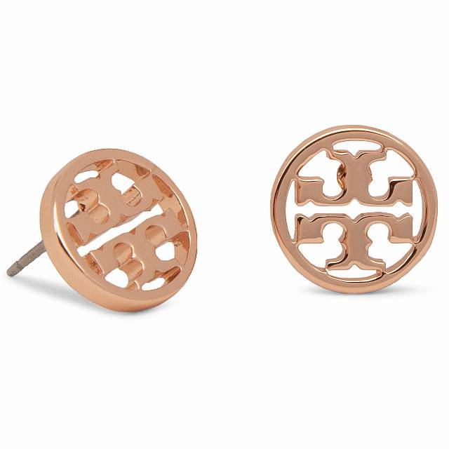 Kolczyki TORY BURCH - Logo Circle Stud Earring 11165518 Rose Gold
