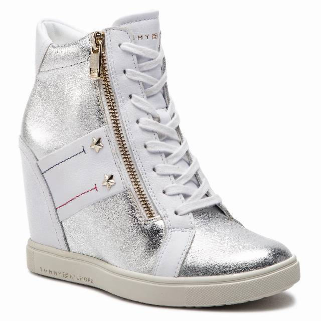 Sneakersy TOMMY HILFIGER - Wedge Sneaker FW0FW03687 White 100
